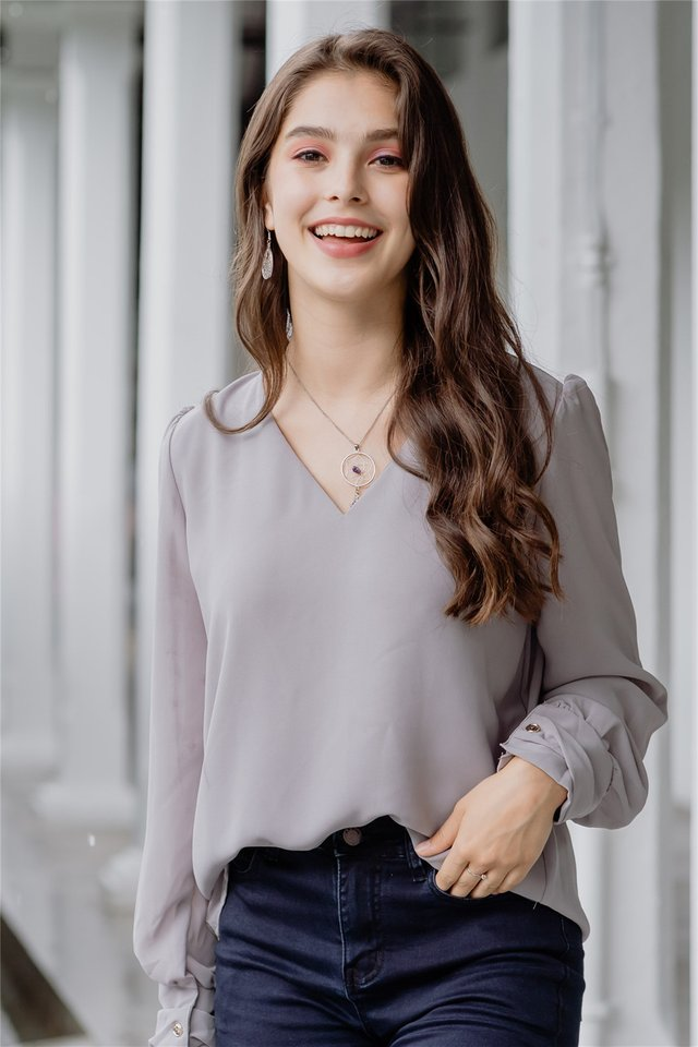 Sleeved Chiffon Blouse in Grey