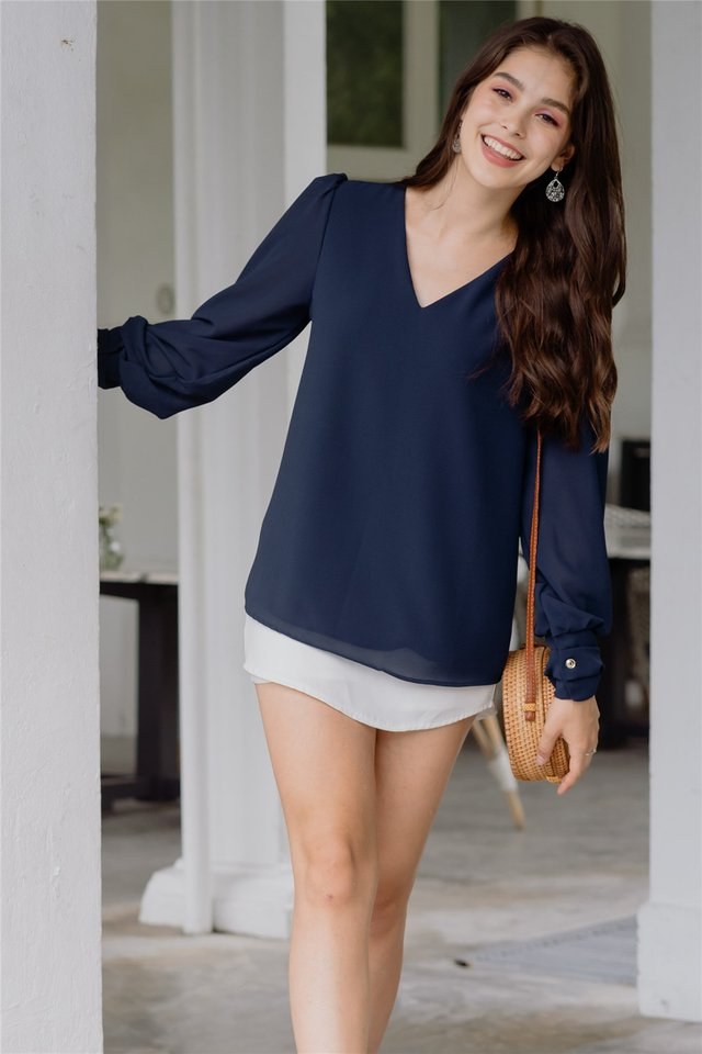 Sleeved Chiffon Blouse in Navy