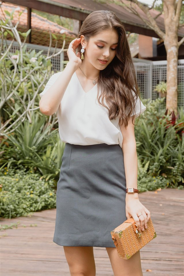 A-Line Structured Skirt in Blue-Grey