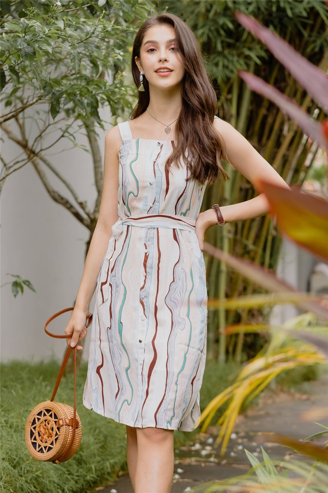 ACW Abstract Colour Button Panel Midi Dress in White