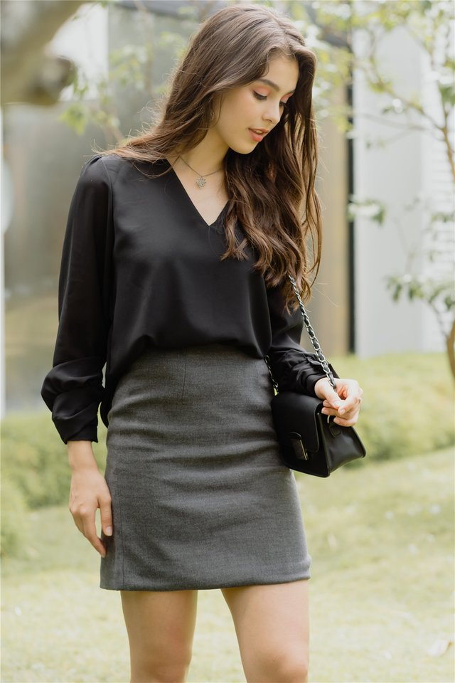 Sleeved Chiffon Blouse in Black