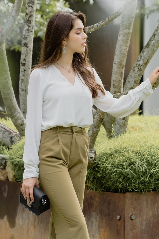 Sleeved Chiffon Blouse in White