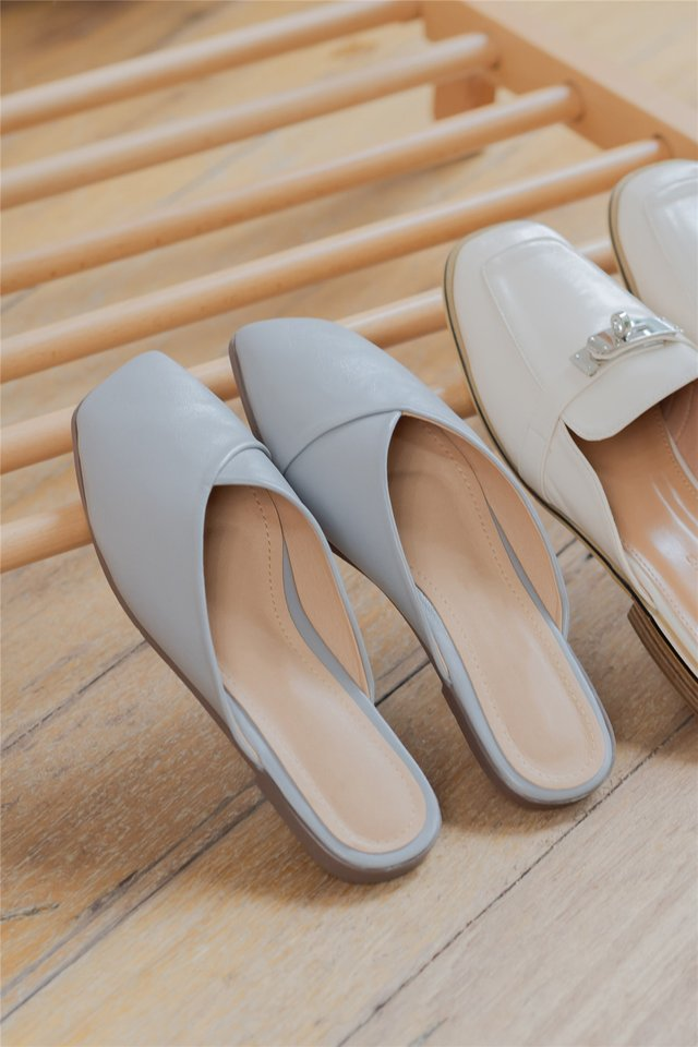 *Backorder 2* Slip On Leather Sliders in Soft Grey