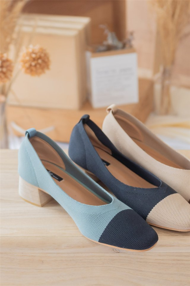 Jersey Cotton Colourblock Heels in Turquoise