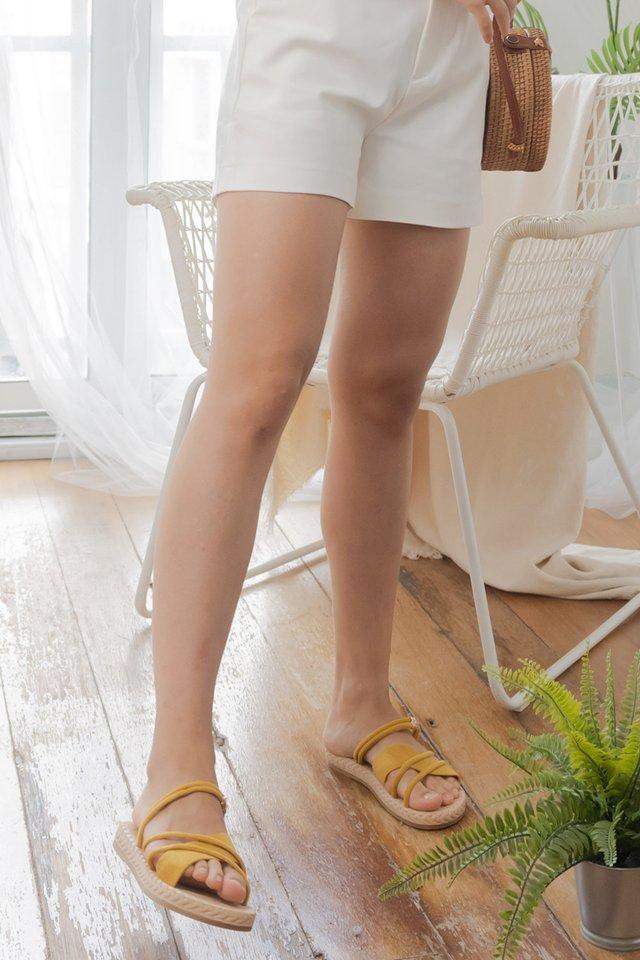 Weave Platform Sandals in Mustard