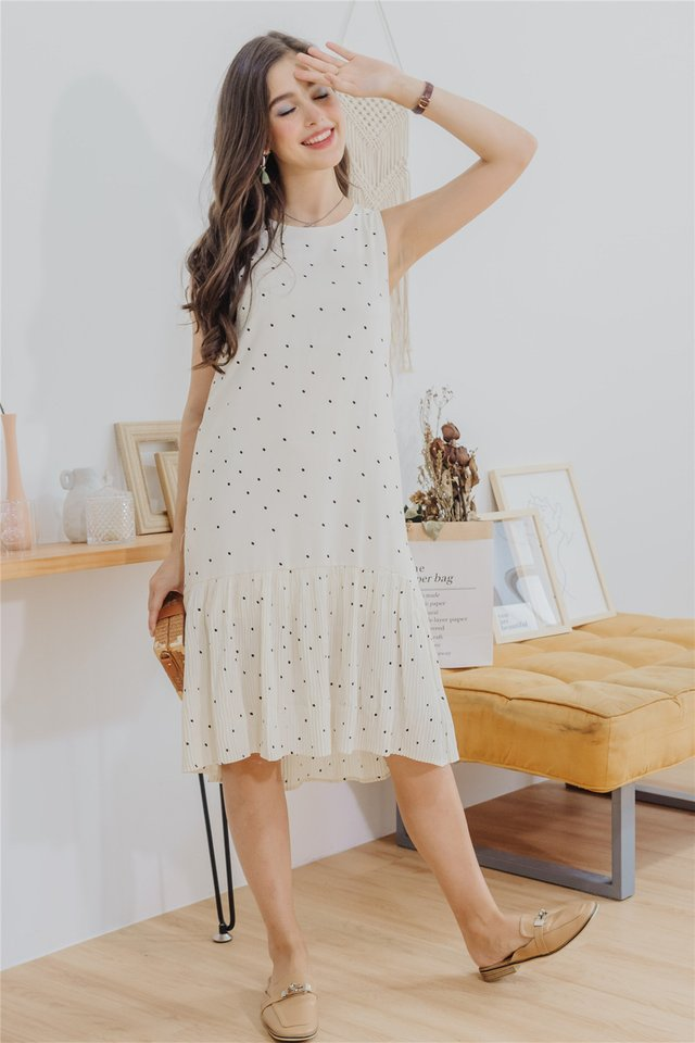 Polka Dot Pleated Hem Midi Dress in Ivory