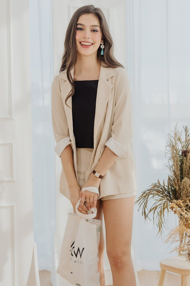 *Backorder 3* Two Piece Blazer-Shorts Set in Ecru