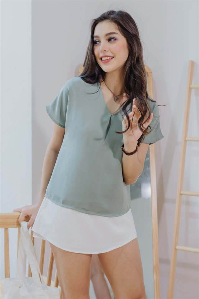 *BACK IN STOCK* ACW Pleated Box Top in Seafoam