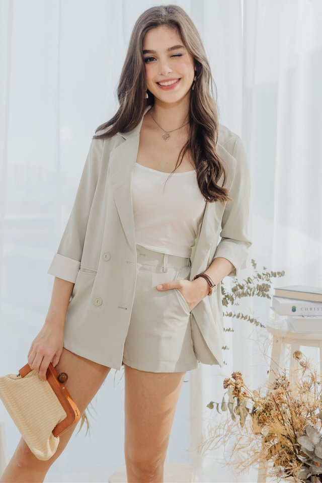 *Backorder 6* Two Piece Blazer-Shorts Set in Melon