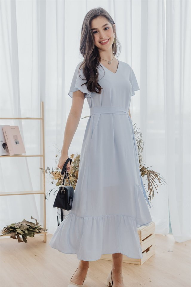 *BACK IN STOCK* ACW Asymmetric Hem Sash Midi Dress in Powder Blue