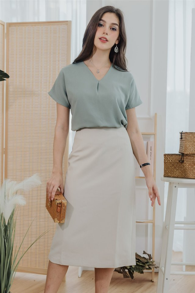*Backorder* ACW Pleated Box Top in Seafoam
