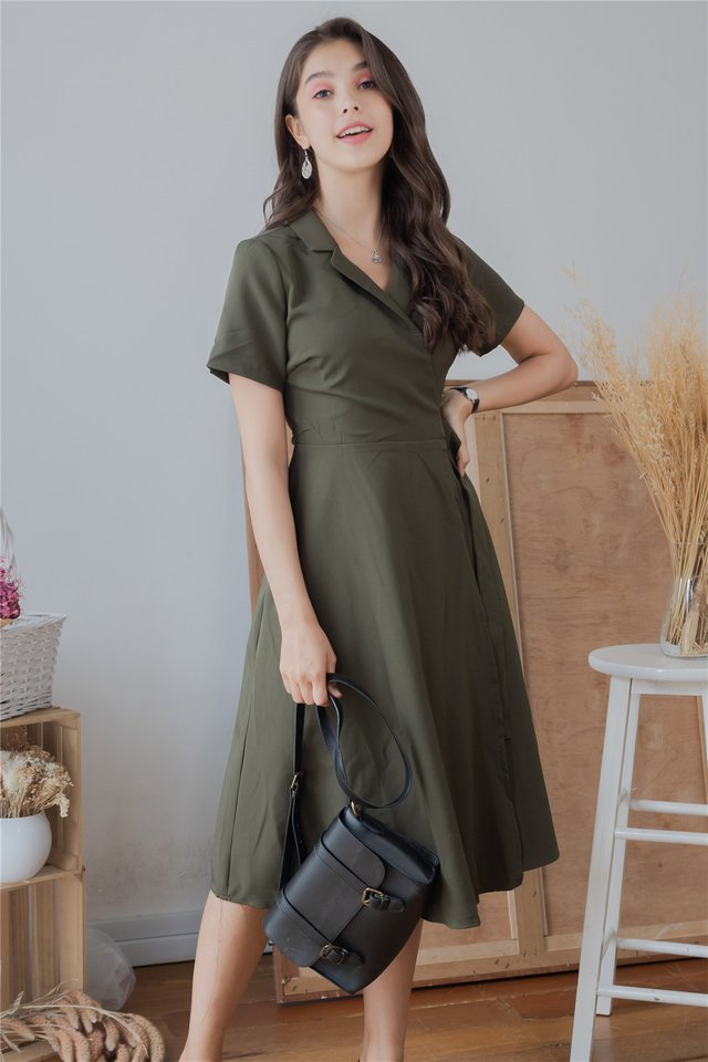 Camp Collar Buckle Midi Flare Dress in Olive