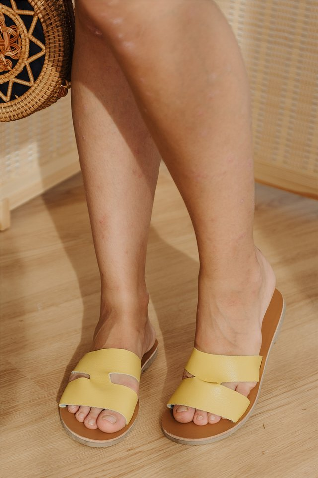 Coloured Strap Slide Ons in Sunshine Yellow