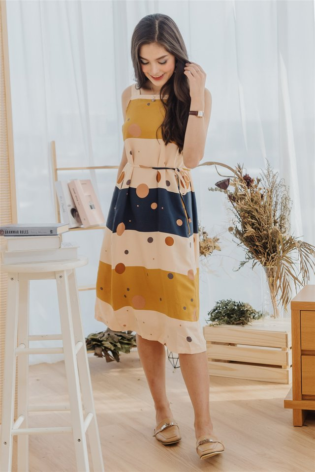 ACW Circles Abstract Cut In Midi Sash Dress