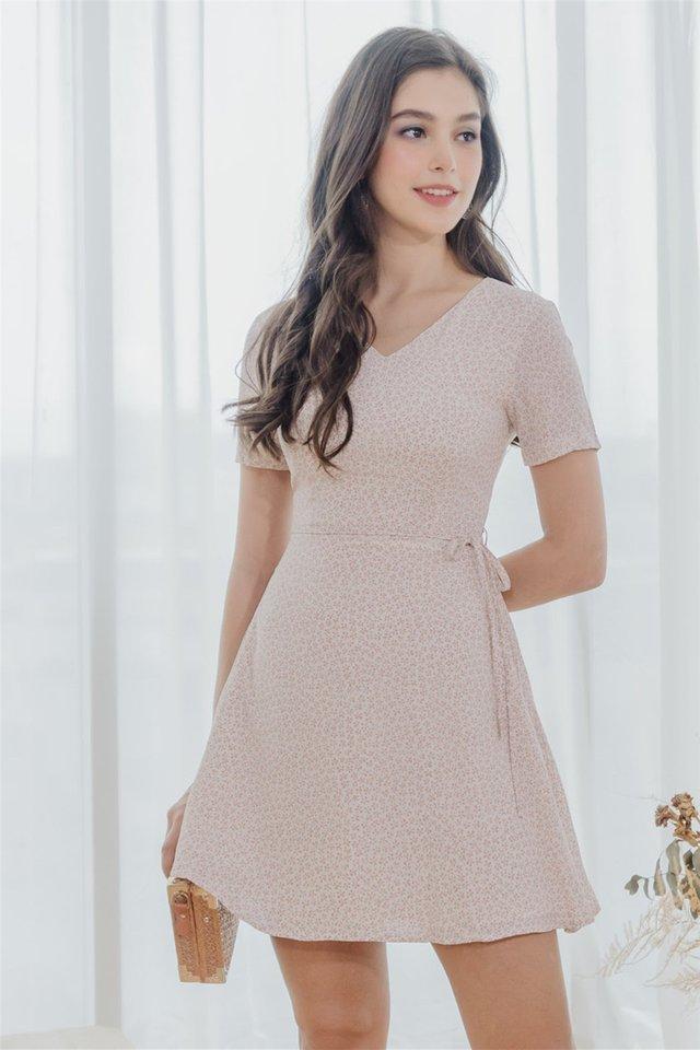 ACW Mini Pastel Flora Swing Dress in Dusty Pink