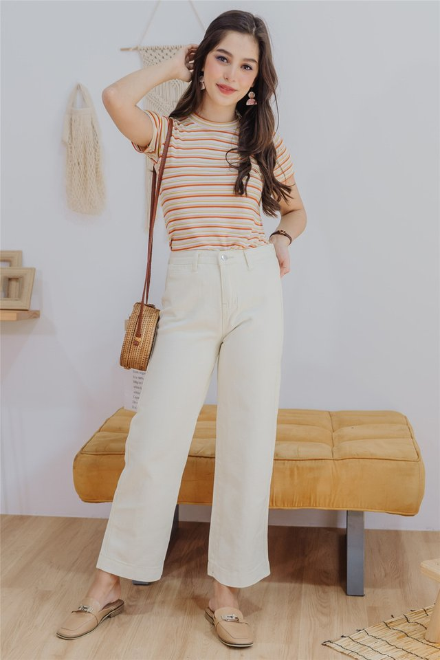 Loose Fit Denim Jeans in Ivory