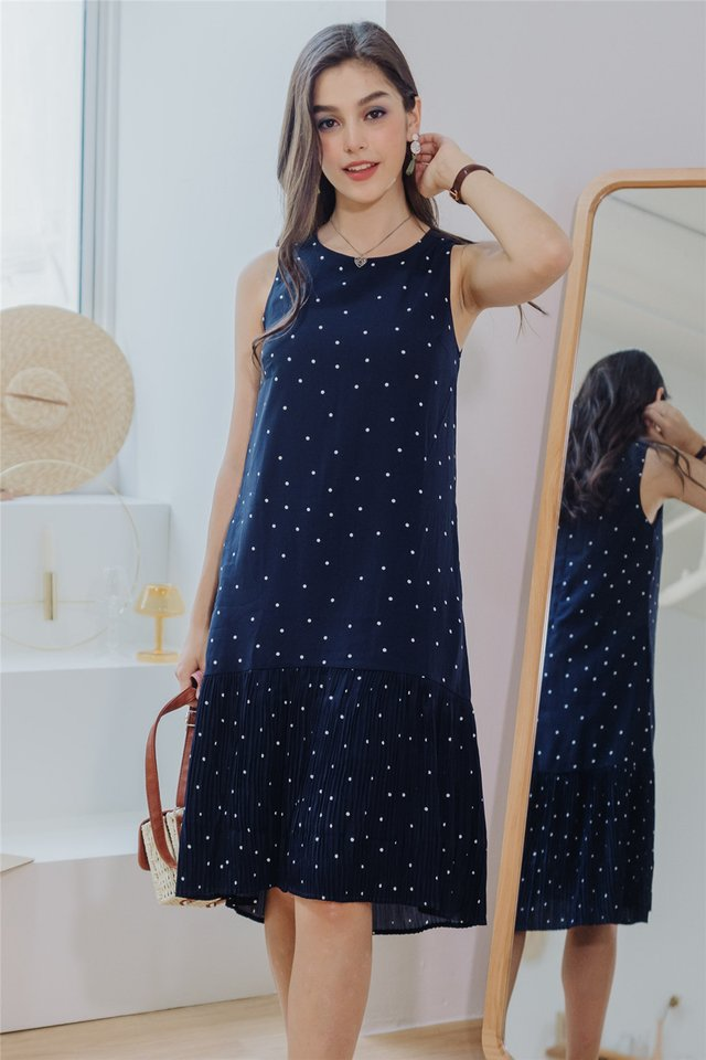 Polka Dot Pleated Hem Midi Dress in Navy