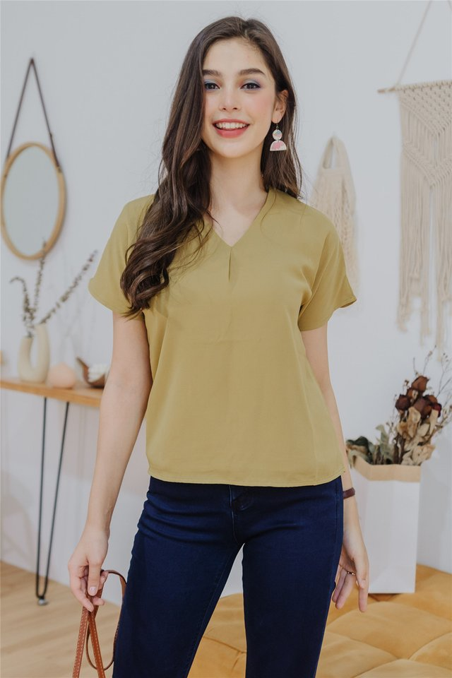 ACW Pleated Box Top in Daffodil