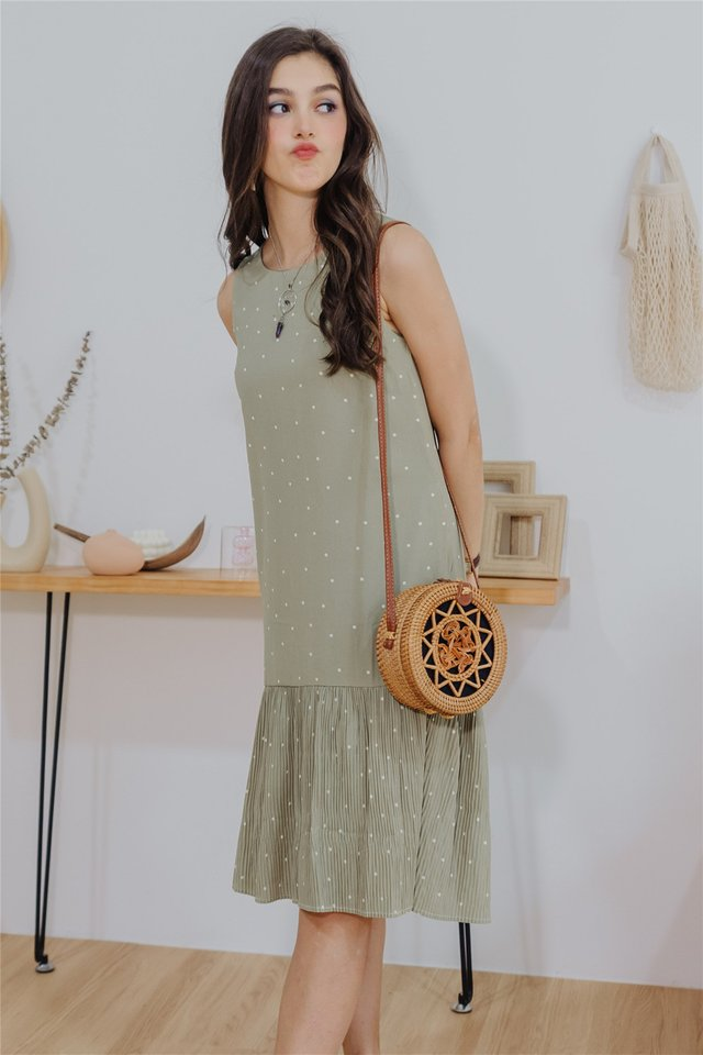 *BACK IN STOCK* Polka Dot Pleated Hem Midi Dress in Sage Green