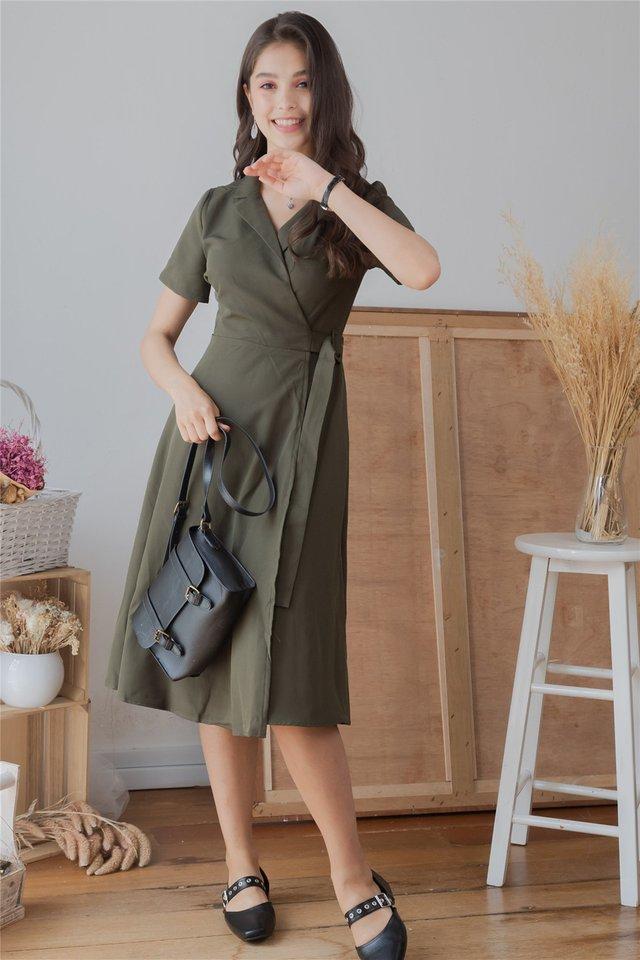 Camp Collar Buckle Midi Flare Dress in Olive