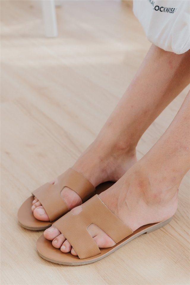 Coloured Strap Slide Ons in Brown