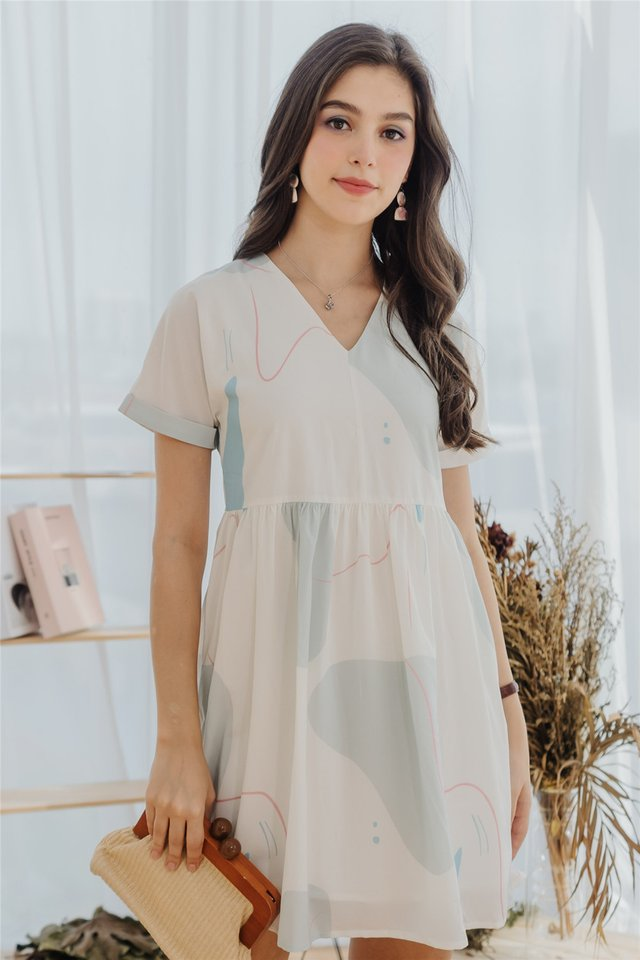 ACW Scribble Abstract Babydoll Sleeved Dress in Seafoam