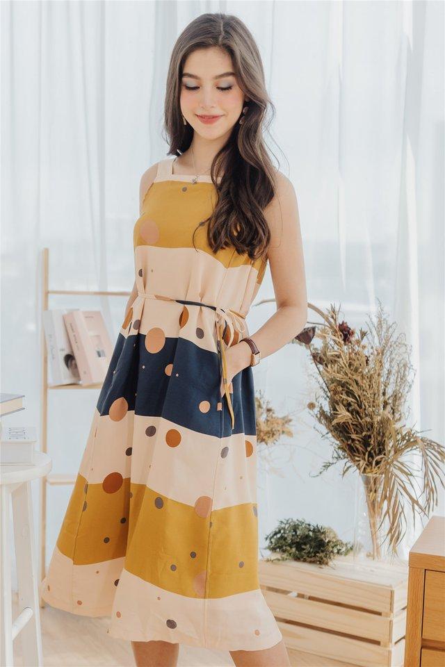ACW Circles Abstract Cut In Midi Sash Dress