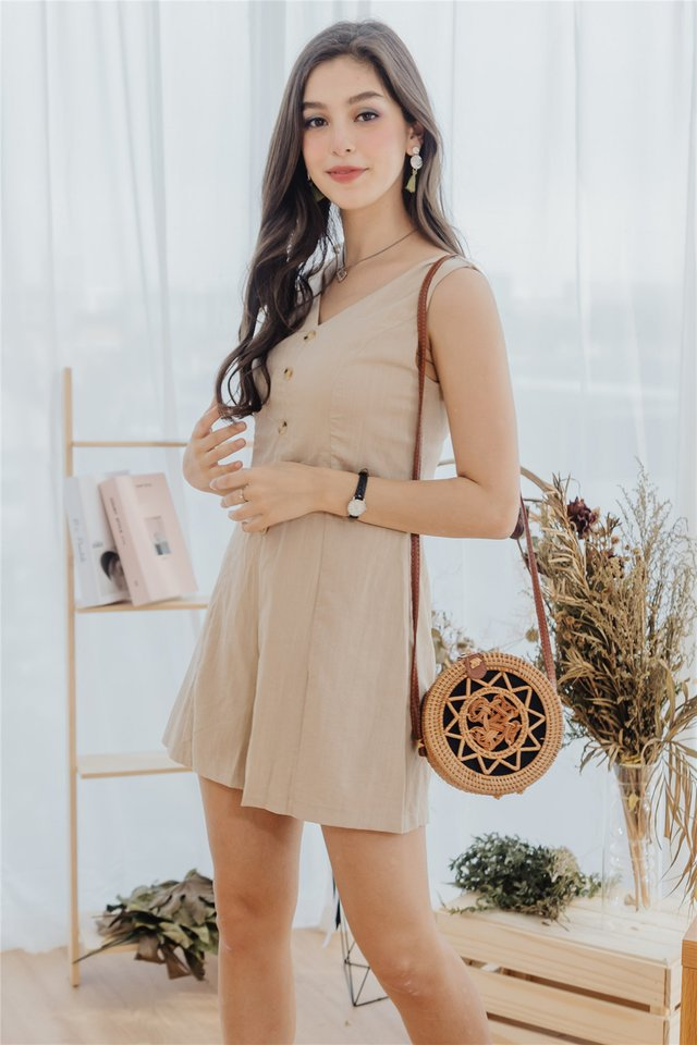 Button Panel Linen Romper in Sand