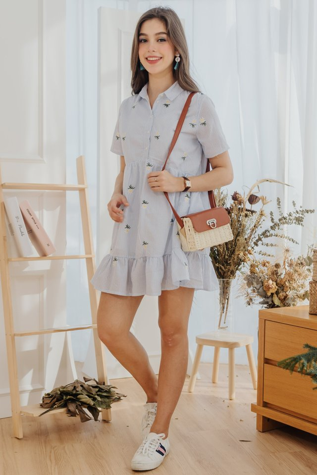 ACW Daisy Pinstripe Embroidery Babydoll Shirt Dress in Sky Blue