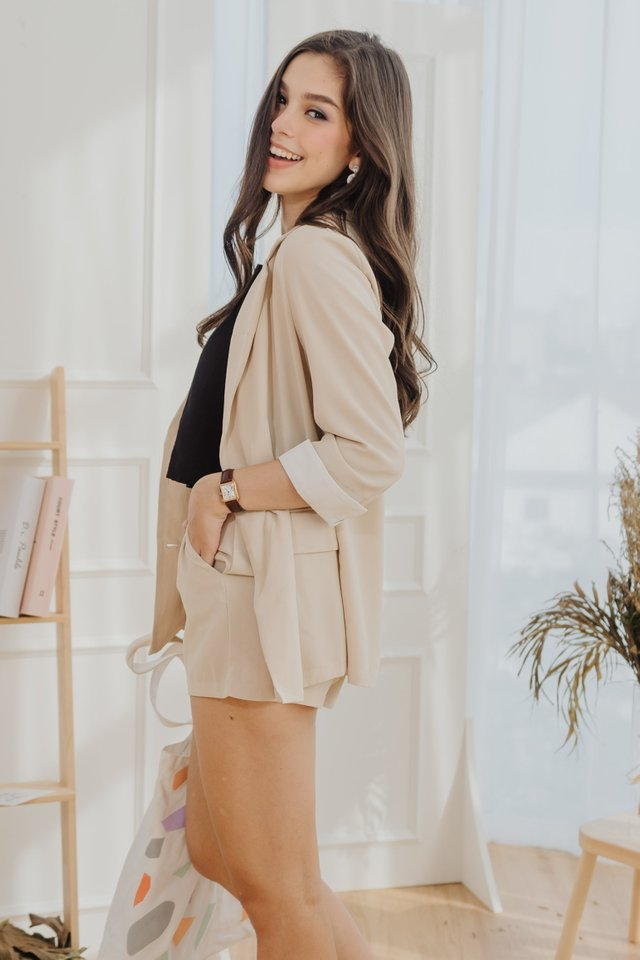 *Backorder 6* Two Piece Blazer-Shorts Set in Ecru