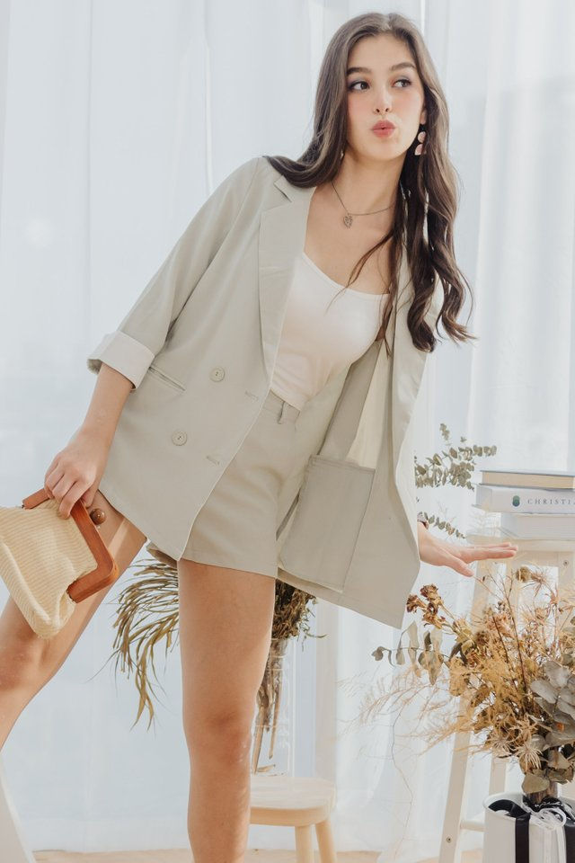*Backorder 3* Two Piece Blazer-Shorts Set in Melon