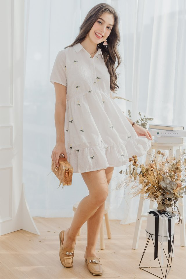 ACW Daisy Pinstripe Embroidery Babydoll Shirt Dress in White