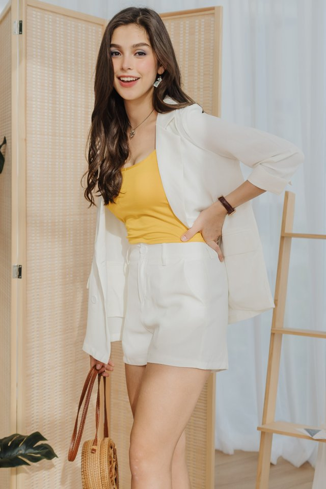 Two Piece Blazer-Shorts Set in White