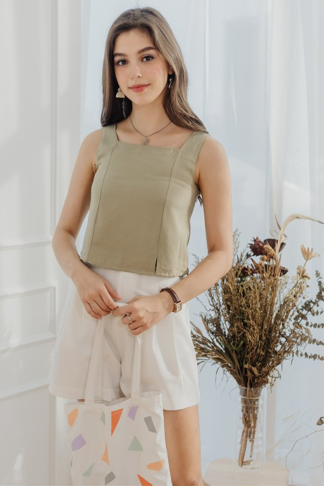 ACW Basic Square Neck Top in Sage Green