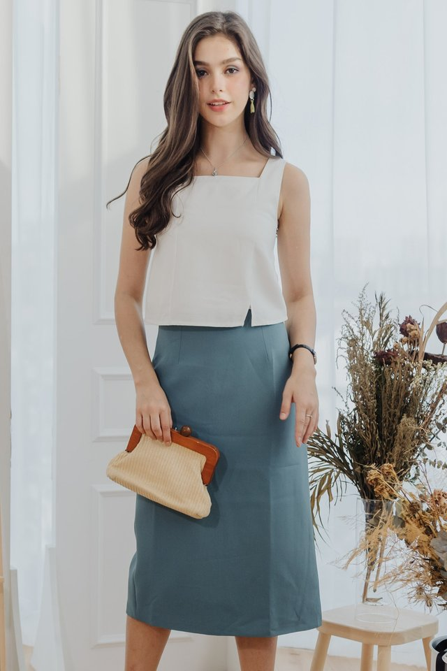 Classic Midi Pencil Skirt in Turquoise