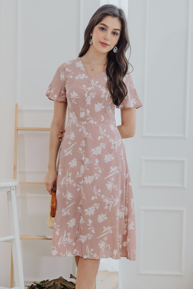 Island Florals Button Panel Midi Dress in Blush