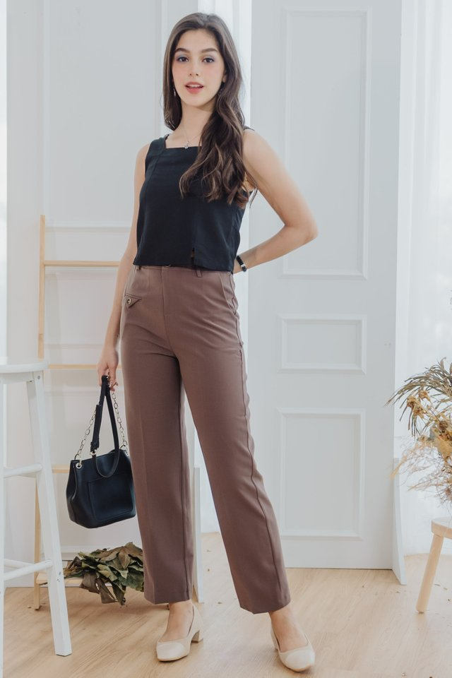 Straight Fit Chino Trousers in Cocoa Brown