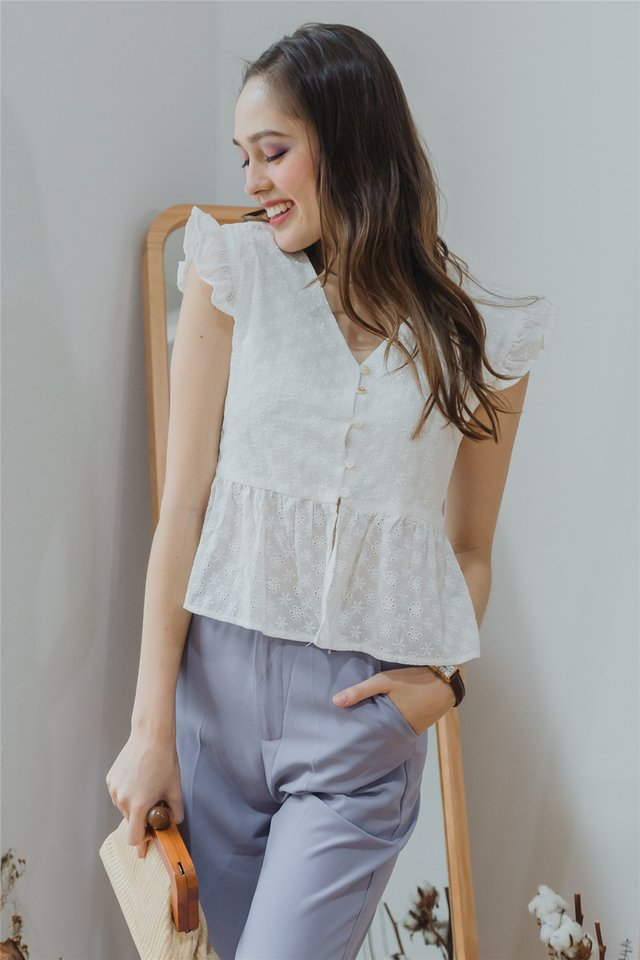 *BACK IN STOCK* Eyelet Button Frill Sleeve Top in White