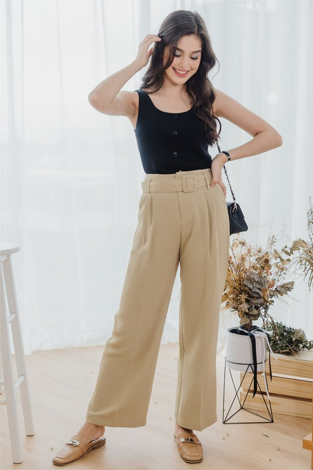 Square Buckle Belt Flare Trousers in Pale Yellow