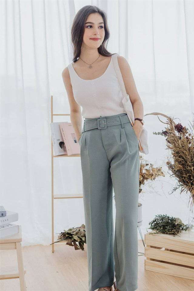 *Backorder 2* Square Buckle Belt Flare Trousers in Seafoam