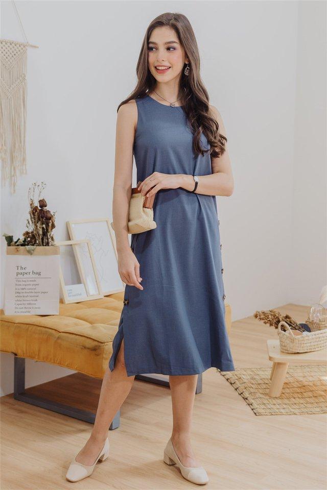 ACW Sleeveless Panel Midi Dress in Ash Blue