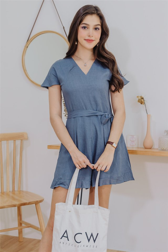 ACW Linen Sash Tie Sleeved Romper in Ash Blue