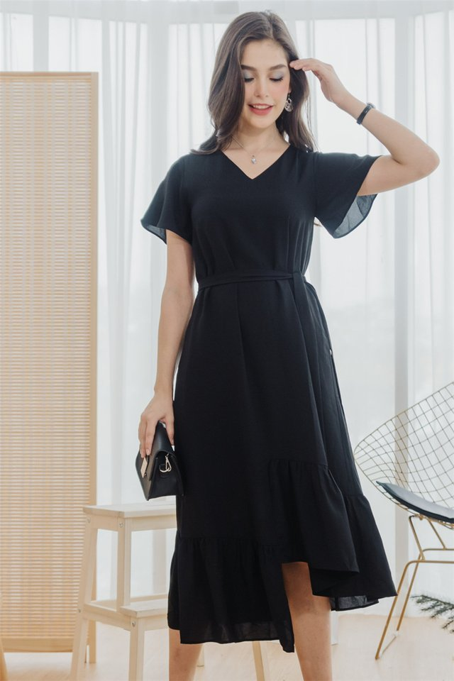 *BACK IN STOCK* ACW Asymmetric Hem Sash Midi Dress in Black