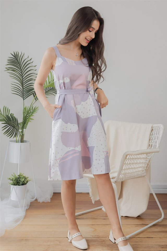 Two Way Marble Swirl Dress in Lilac