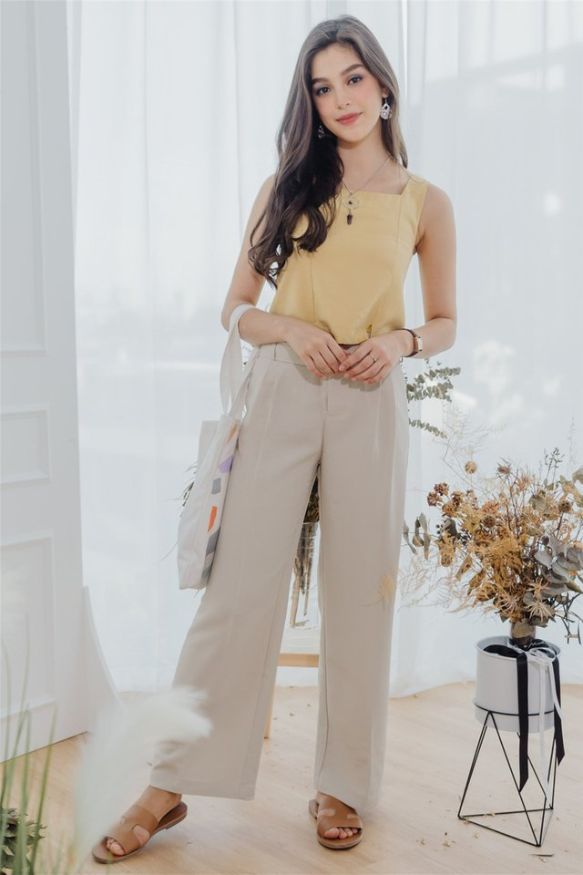*BACK IN STOCK* Square Buckle Belt Flare Trousers in Ivory