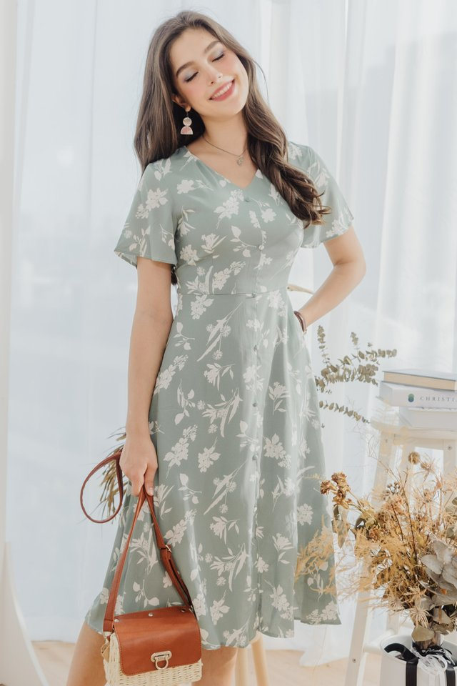 Island Florals Button Panel Midi Dress in Sage Green