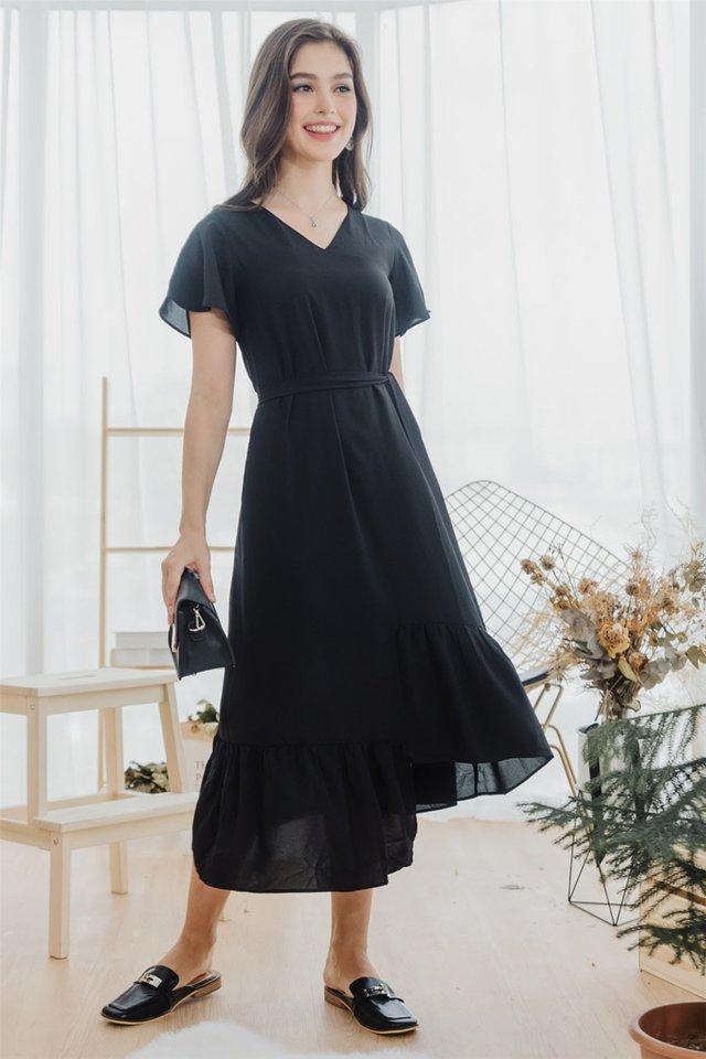 *BACK IN STOCK* ACW Asymmetric Hem Sash Midi Dress in Black