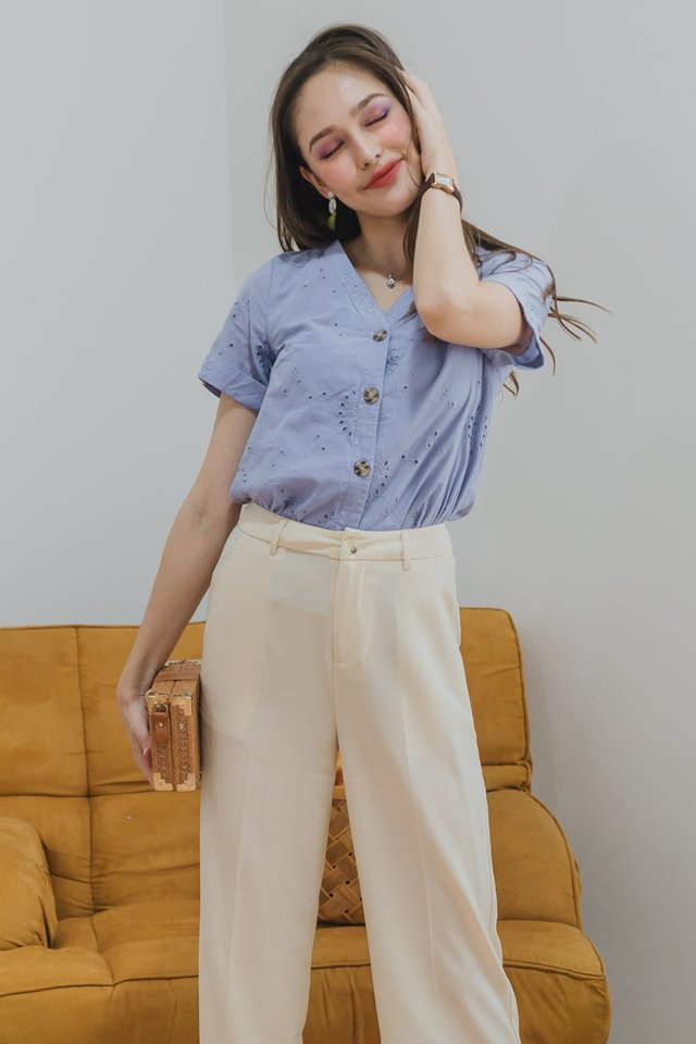 ACW Eyelet Button Down Sleeve Top in Periwinkle