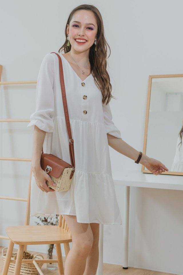 ACW Sleeved Button Tier Babydoll Dress in White