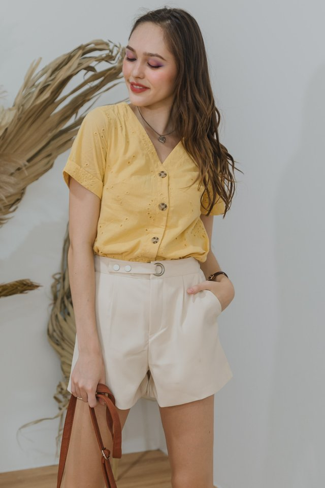 ACW Eyelet Button Down Sleeve Top in Daffodil